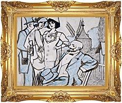 Juan Gris Aux Courses Des Longchamps canvas with Majestic Gold frame