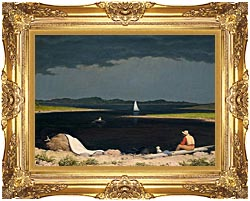 Martin Johnson Heade Approaching Thunder Storm canvas with Majestic Gold frame