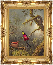 Martin Johnson Heade A Pair Of Nesting Crimson Topaz Hummingbirds canvas with Majestic Gold frame