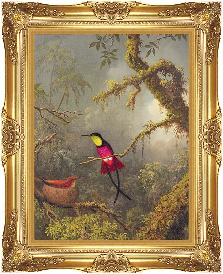 Martin Johnson Heade A Pair of Nesting Crimson Topaz Hummingbirds with Majestic Gold Frame