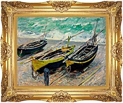 Claude Monet Three Fishing Boats canvas with Majestic Gold frame