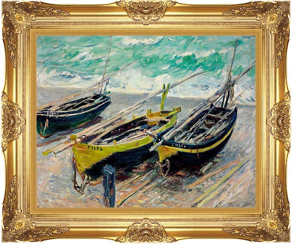 Claude Monet Three Fishing Boats with Majestic Gold Frame