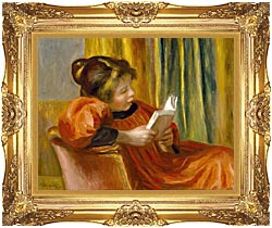 Pierre Auguste Renoir Girl Reading canvas with Majestic Gold frame