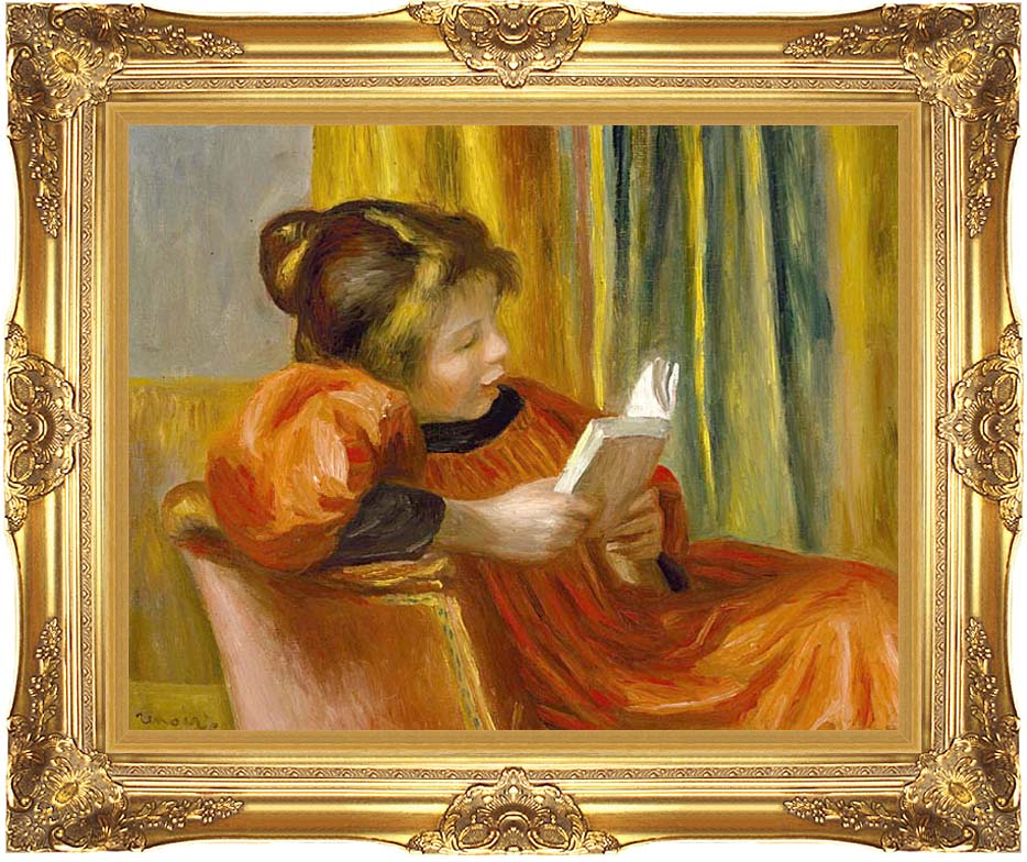 Pierre Auguste Renoir Girl Reading with Majestic Gold Frame