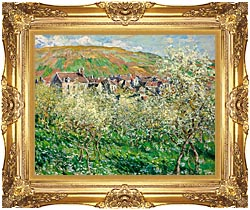 Claude Monet Flowering Plum Trees canvas with Majestic Gold frame