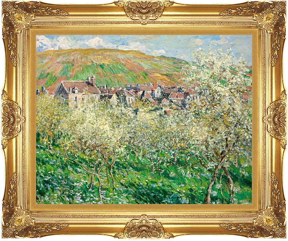 Claude Monet Flowering Plum Trees with Majestic Gold Frame