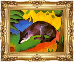 Franz Marc Blue Black Fox canvas with Majestic Gold frame
