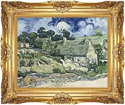 Vincent Van Gogh Thatched Cottages At Cordeville canvas with Majestic Gold frame