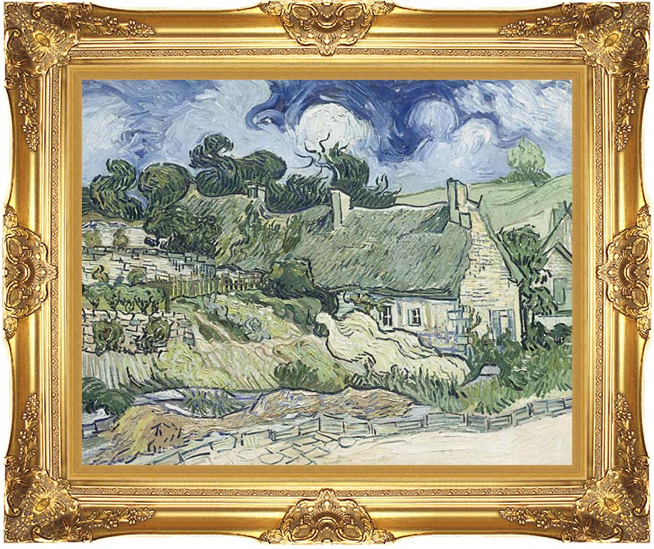 Vincent van Gogh Thatched Cottages at Cordeville with Majestic Gold Frame