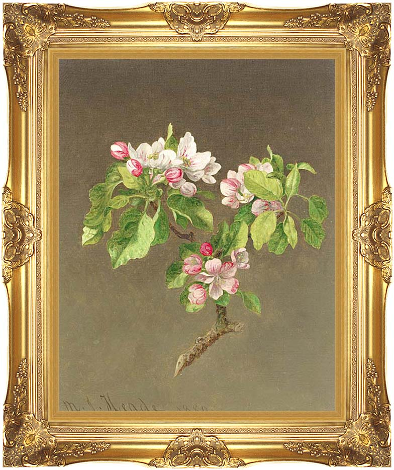 Martin Johnson Heade Apple Blossoms with Majestic Gold Frame