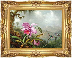 Martin Johnson Heade Orchids And Hummingbirds canvas with Majestic Gold frame