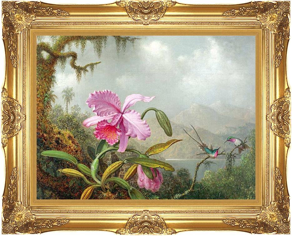 Martin Johnson Heade Orchids and Hummingbirds with Majestic Gold Frame