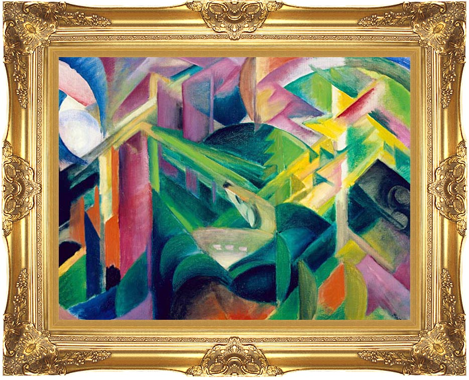 Franz Marc Deer in a Monastery Garden with Majestic Gold Frame