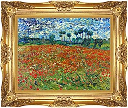 Vincent Van Gogh A Poppy Field canvas with Majestic Gold frame
