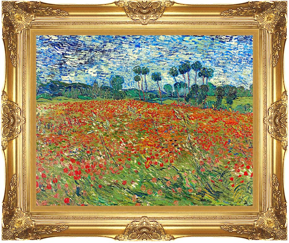 Vincent van Gogh A Poppy Field with Majestic Gold Frame