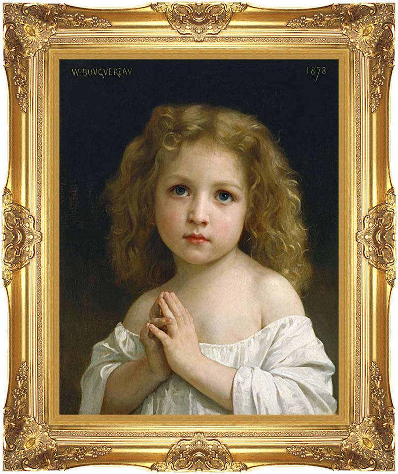 William Bouguereau Little Girl with Majestic Gold Frame