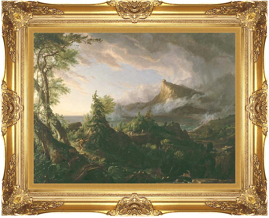 Thomas Cole The Course of Empire The Savage State with Majestic Gold Frame