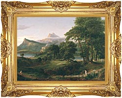 Thomas Cole The Course Of Empire The Arcadian Or Pastoral State canvas with Majestic Gold frame