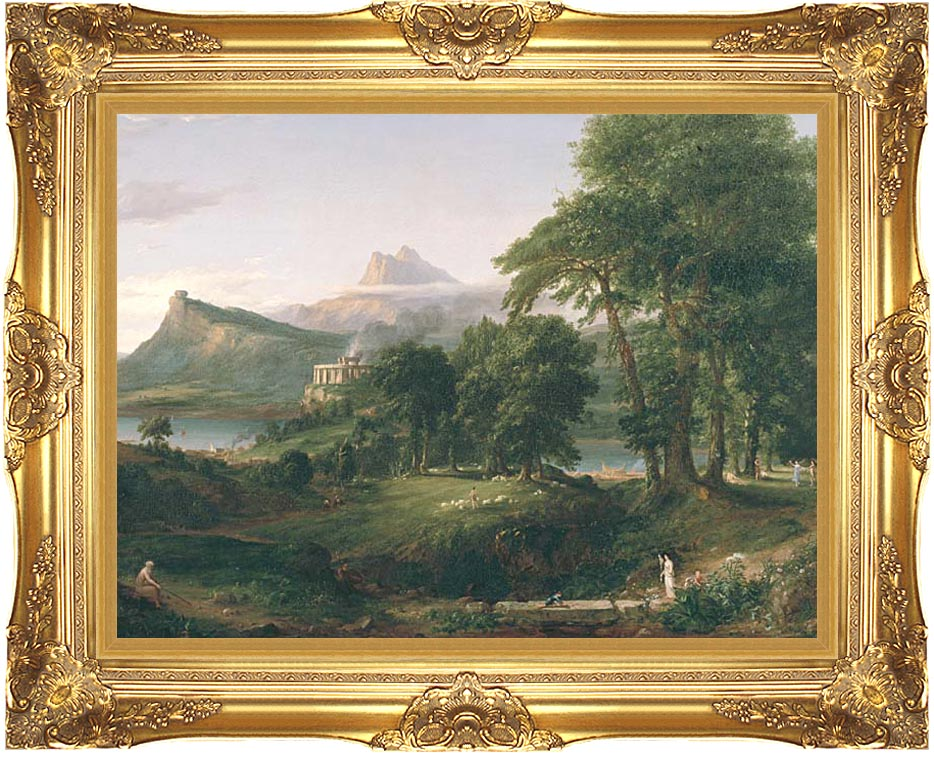 Thomas Cole The Course of Empire The Arcadian or Pastoral State with Majestic Gold Frame