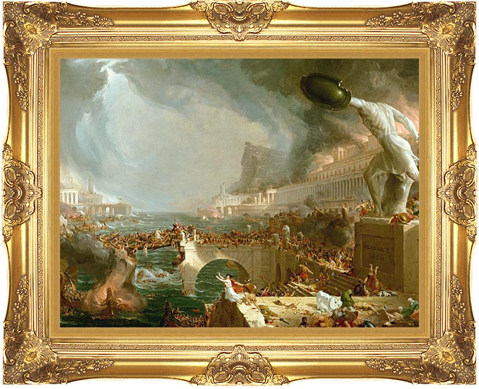 Thomas Cole The Course of Empire Destruction with Majestic Gold Frame