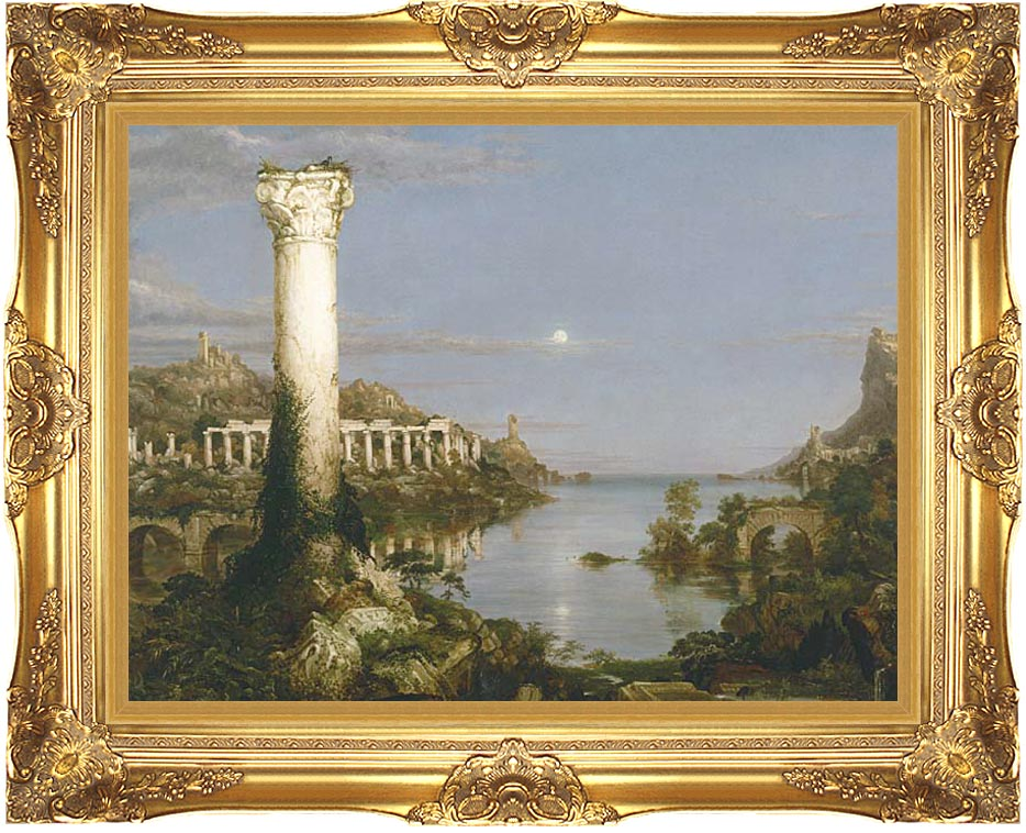 Thomas Cole The Course of Empire Desolation with Majestic Gold Frame