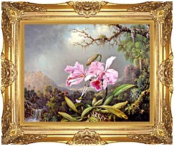 Martin Johnson Heade Study Of An Orchid canvas with Majestic Gold frame