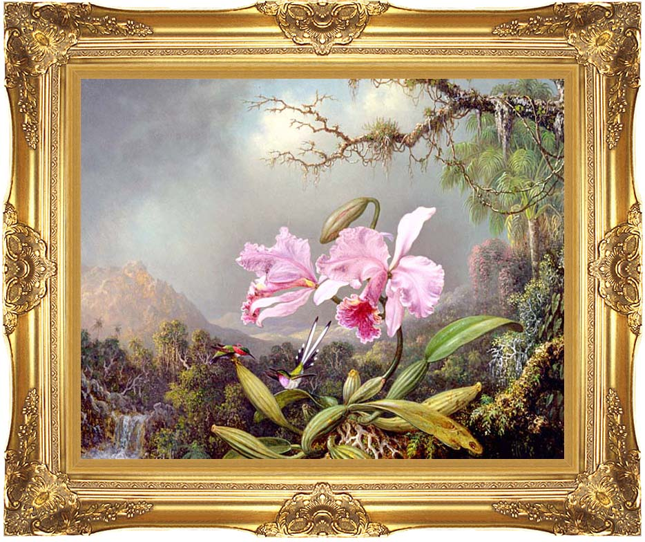 Martin Johnson Heade Study of an Orchid with Majestic Gold Frame
