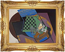 Juan Gris Checkerboard And Playing Cards canvas with Majestic Gold frame