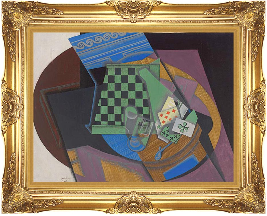 Juan Gris Checkerboard and Playing Cards with Majestic Gold Frame