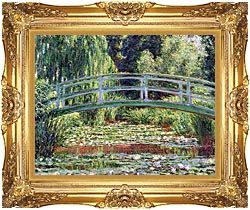 Claude Monet The Japanese Footbridge And The Water Lily Pool Giverny canvas with Majestic Gold frame