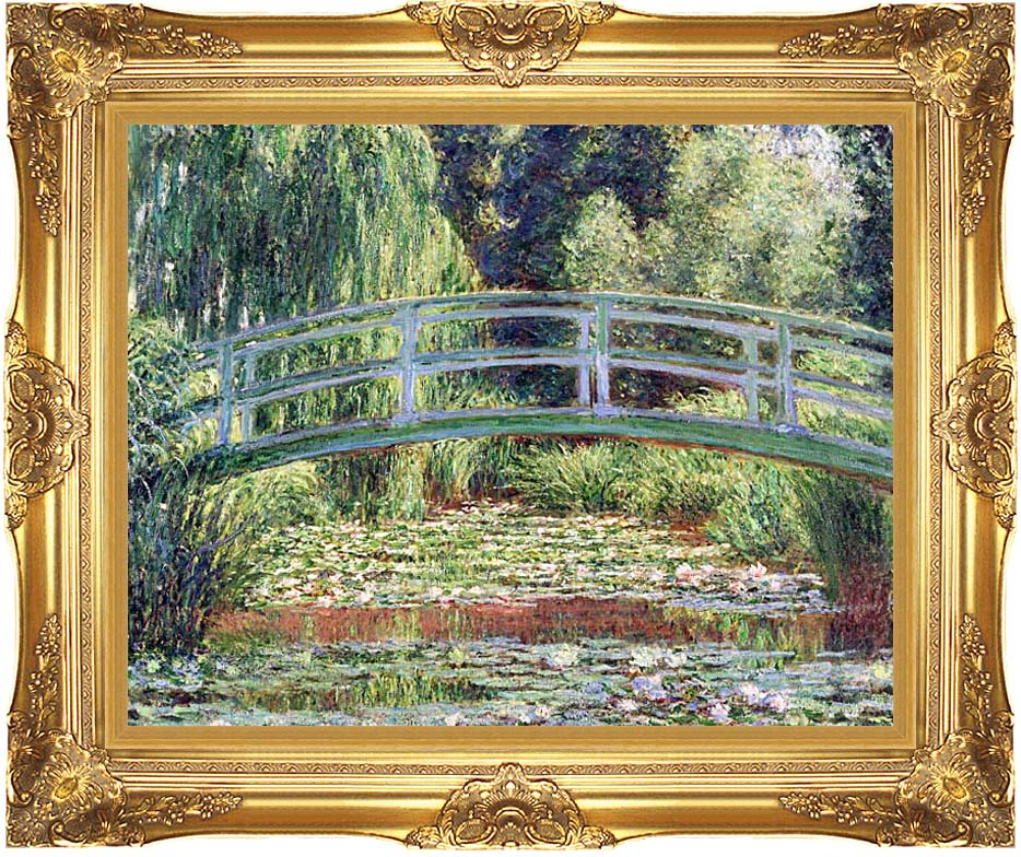 Claude Monet The Japanese Footbridge and the Water Lily Pool, Giverny with Majestic Gold Frame