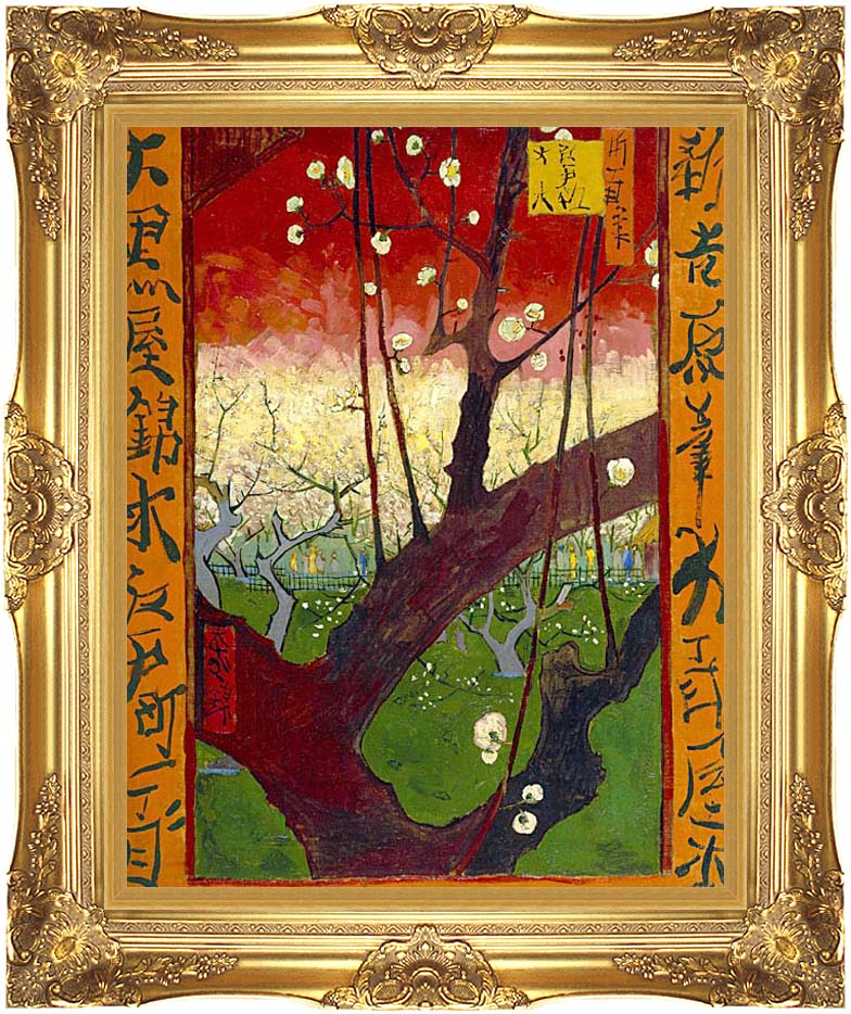 Vincent van Gogh Flowering Plum Tree with Majestic Gold Frame