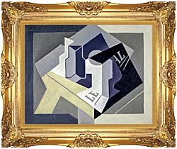 Juan Gris Frutero Y Periodico canvas with Majestic Gold frame