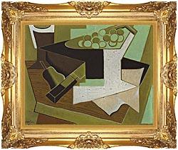 Juan Gris Grappe De Raisin Et Poire canvas with Majestic Gold frame