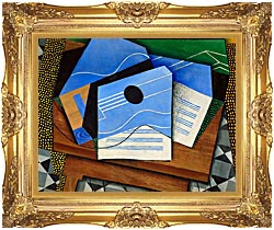 Juan Gris Guitar On A Table canvas with Majestic Gold frame