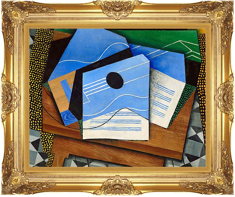 Juan Gris Guitar on a Table with Majestic Gold Frame