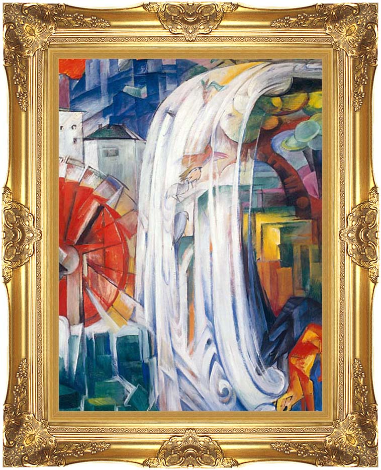 Franz Marc The Bewitched Mill with Majestic Gold Frame