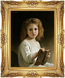 William Bouguereau The Story Book canvas with Majestic Gold frame