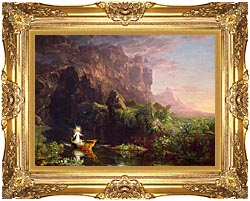 Thomas Cole Voyage Of Life Childhood 1842 canvas with Majestic Gold frame