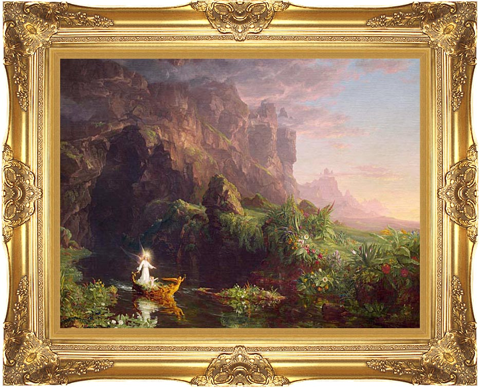 Thomas Cole Voyage of Life: Childhood 1842 with Majestic Gold Frame