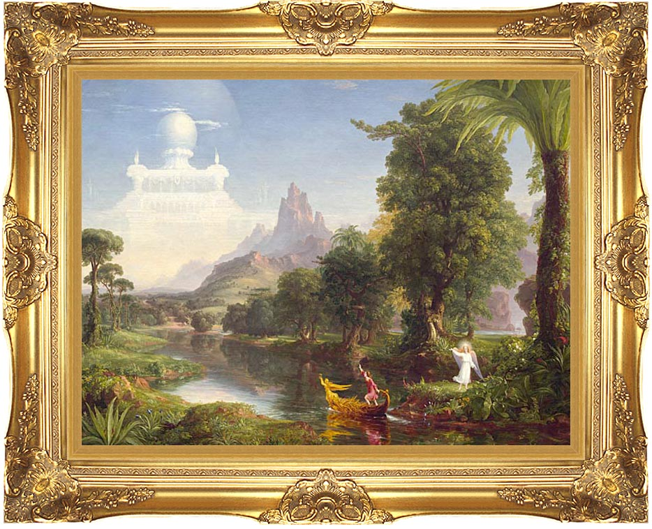 Thomas Cole Voyage of Life: Youth 1842 with Majestic Gold Frame