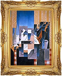 Juan Gris Violin And Guitar canvas with Majestic Gold frame
