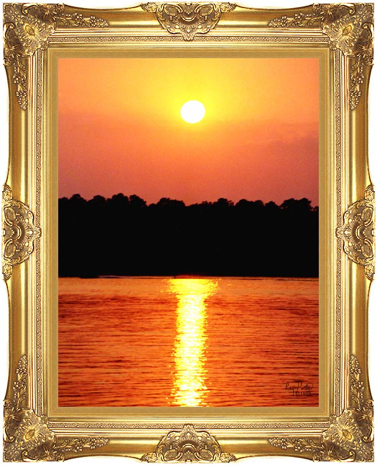 Ray Porter Red Sky at Night with Majestic Gold Frame