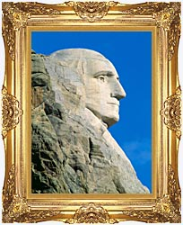 Visions of America George Washington On Mount Rushmore canvas with Majestic Gold frame