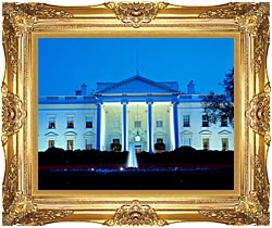 Visions of America White House In Evening Washington DC canvas with Majestic Gold frame