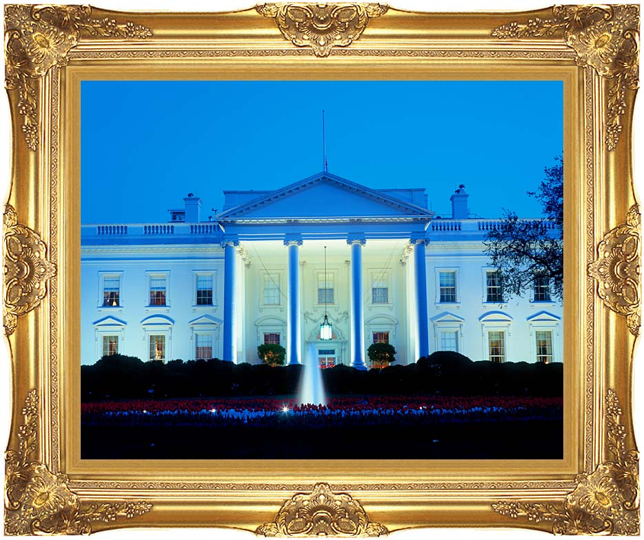 Visions of America White House in Evening, Washington, DC with Majestic Gold Frame