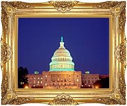 U S Capitol Building at Night, Washington, D C Framed Art