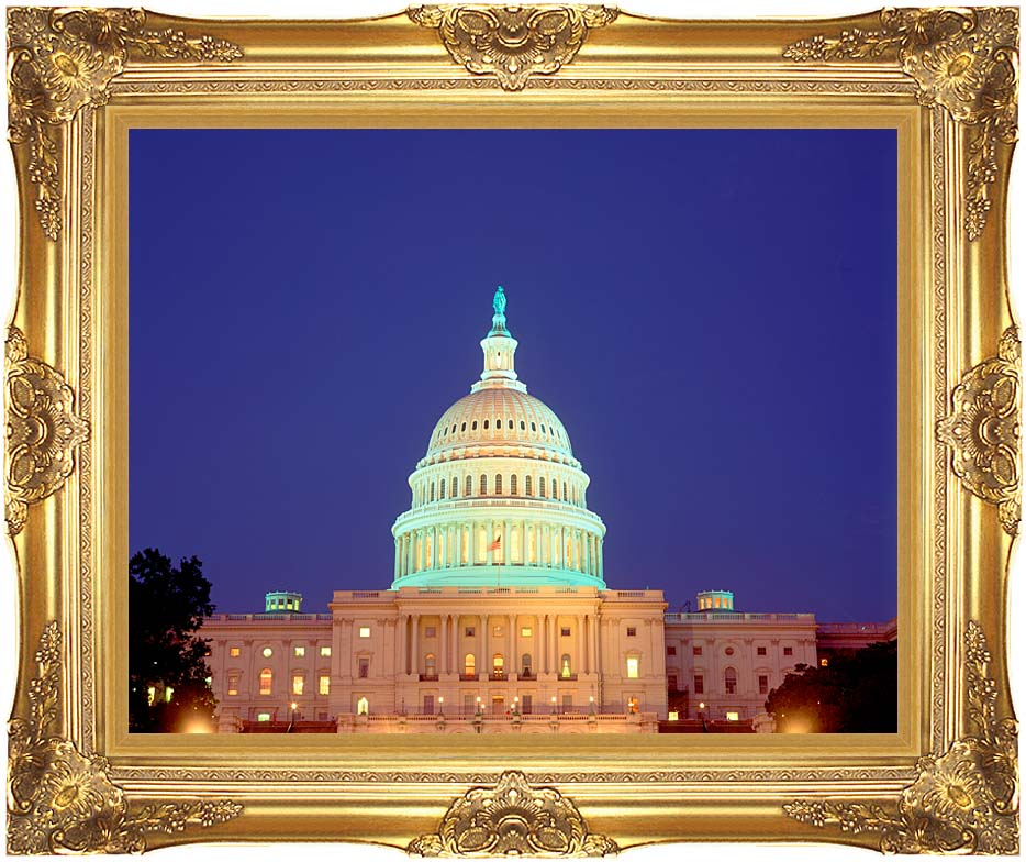 Visions of America U S Capitol Building at Night, Washington, D C with Majestic Gold Frame