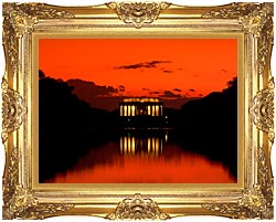 Visions of America Lincoln Memorial At Sunset With Red Sky canvas with Majestic Gold frame