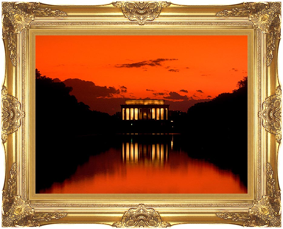 Visions of America Lincoln Memorial at Sunset with Red Sky with Majestic Gold Frame
